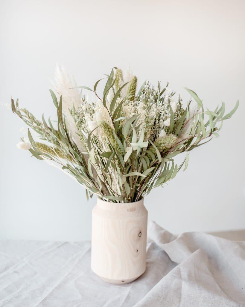 Vase en bois et bouquet de fleurs séchées Rosa Cadaqués