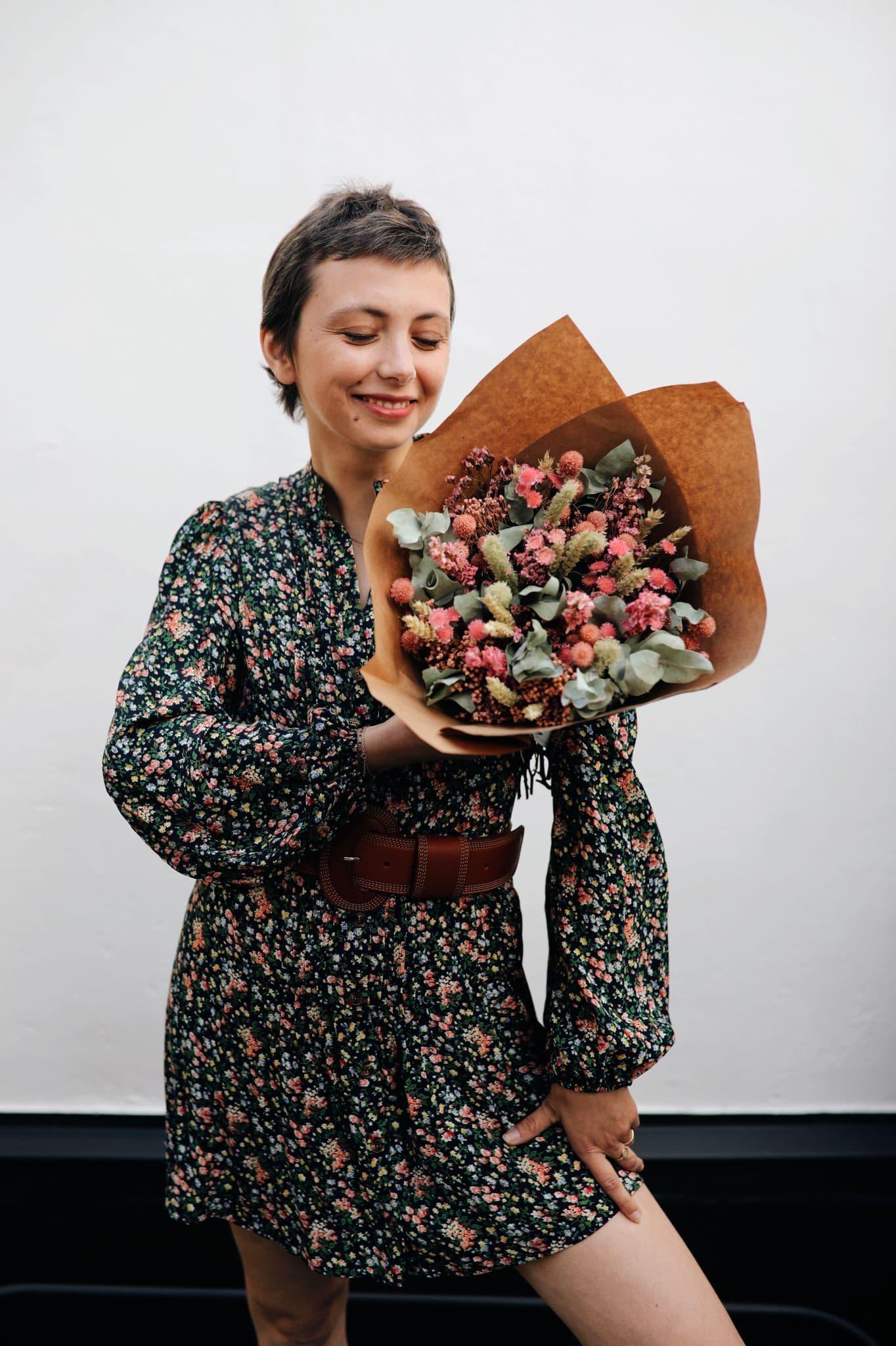 Octobre rose bouquet de fleurs séchées