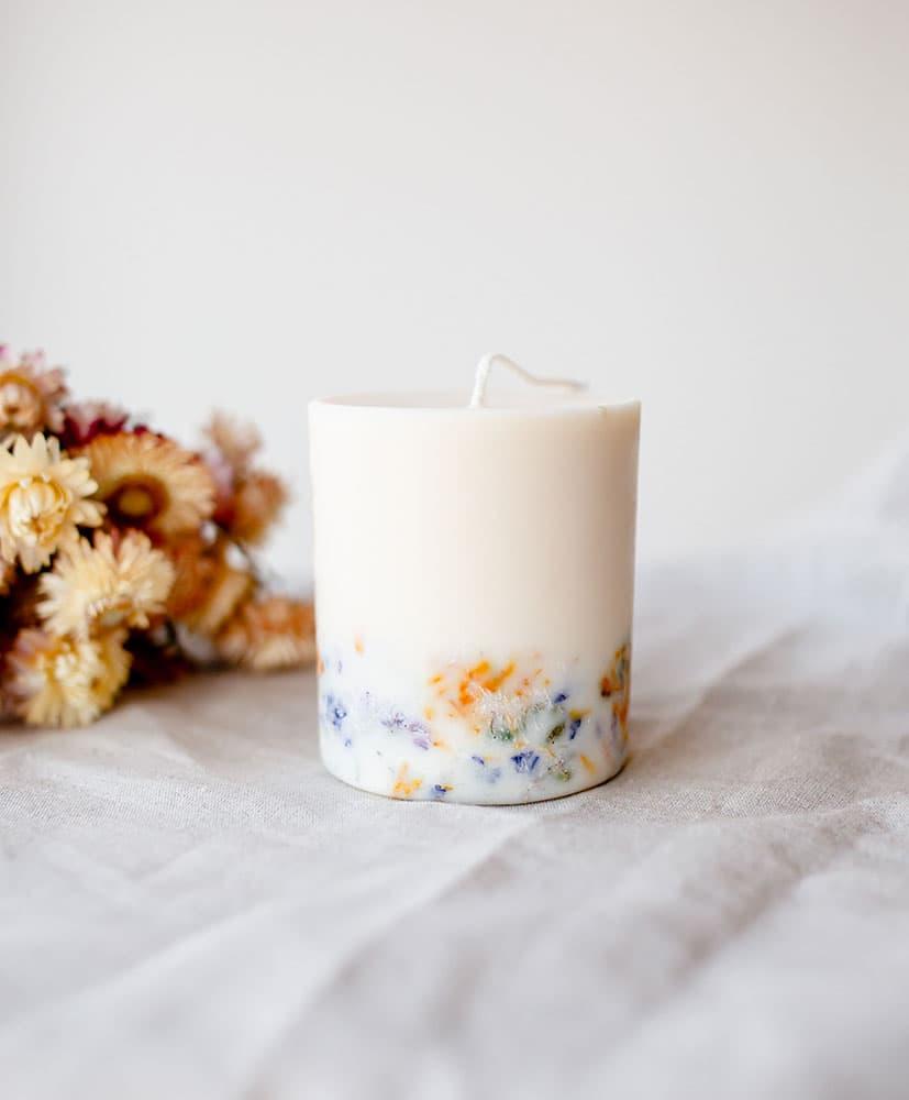 Bougie Wild Flowers aux fleurs séchées