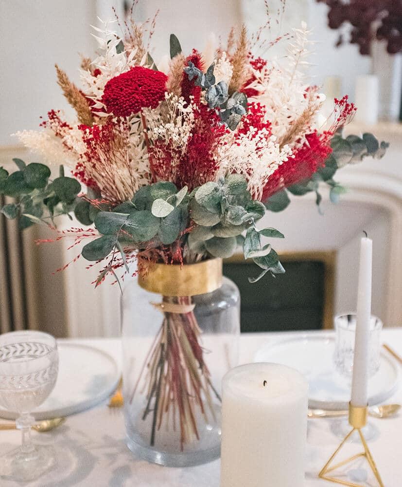 Bouquet de fleurs séchées rosa Cadaqués - Bouquet de Noël