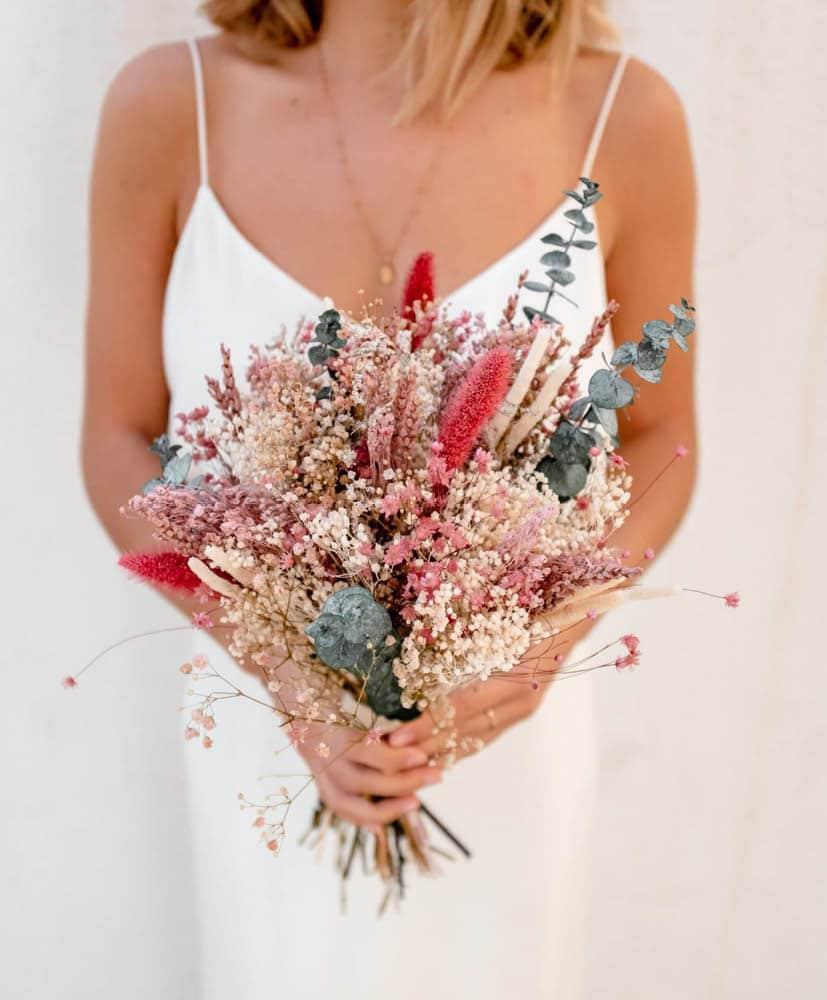 bouquet de mariée en fleurs séchées rosa Cadaques