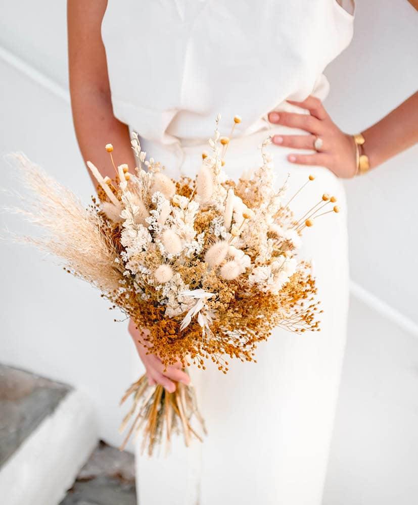 Bouquet de mariée en fleurs séchée Olga Agustina rosa Cadaques