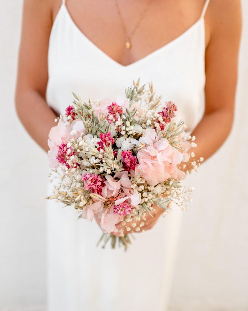 Bouquet de mariée en fleurs séchées Rosa Cadaqués