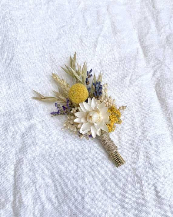 Boutonnière fleurs séchées Gala Rosa Cadaqués