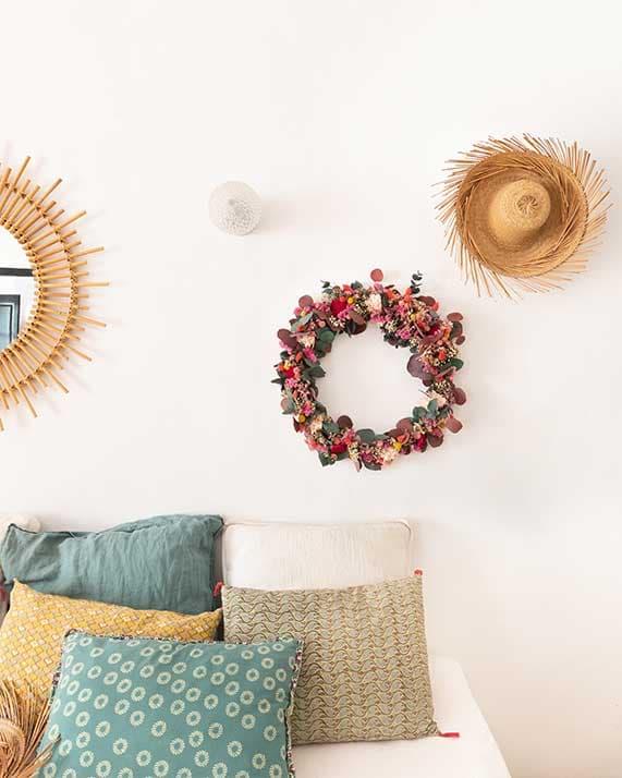 Couronne fleurs séchées Cala Serena Rosa Cadaques
