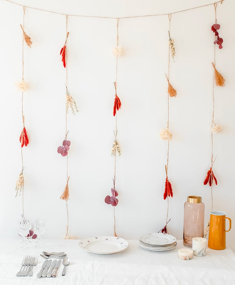 Magda dried flowers curtain