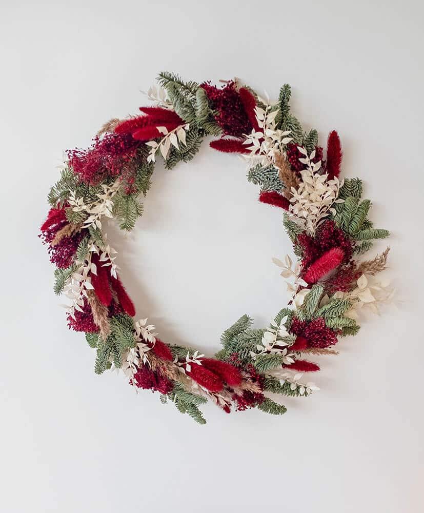 Couronne rouge noel fleurs séchées