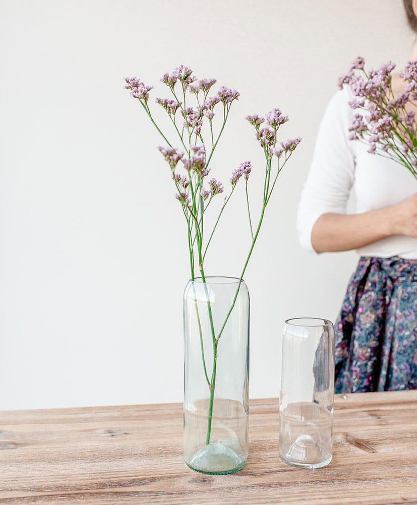 Vase Q de bouteille transparent