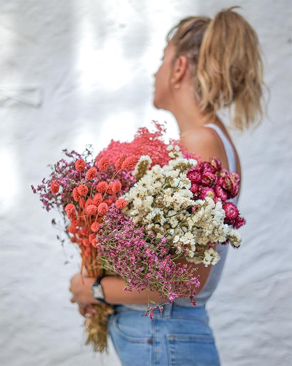 Melange fleurs sechees rosa cadaques rose
