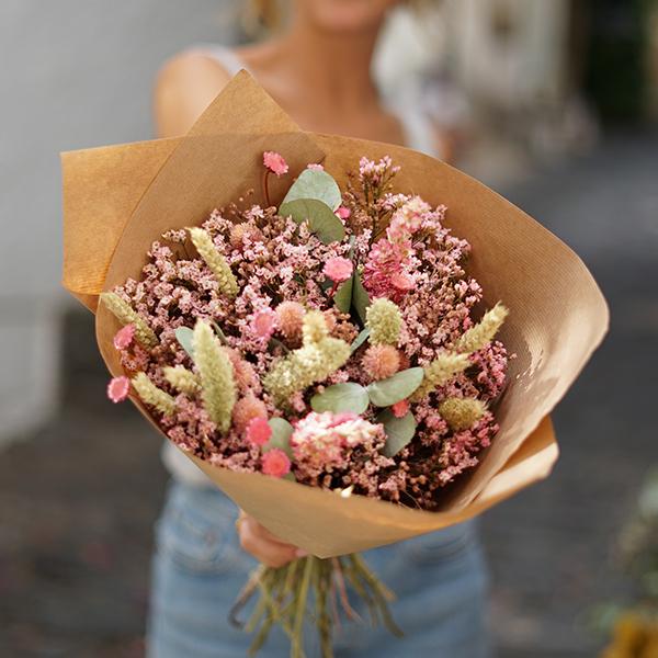 Bouquet fleurs séchées OCTOBRE ROSE Rosa Cadaques
