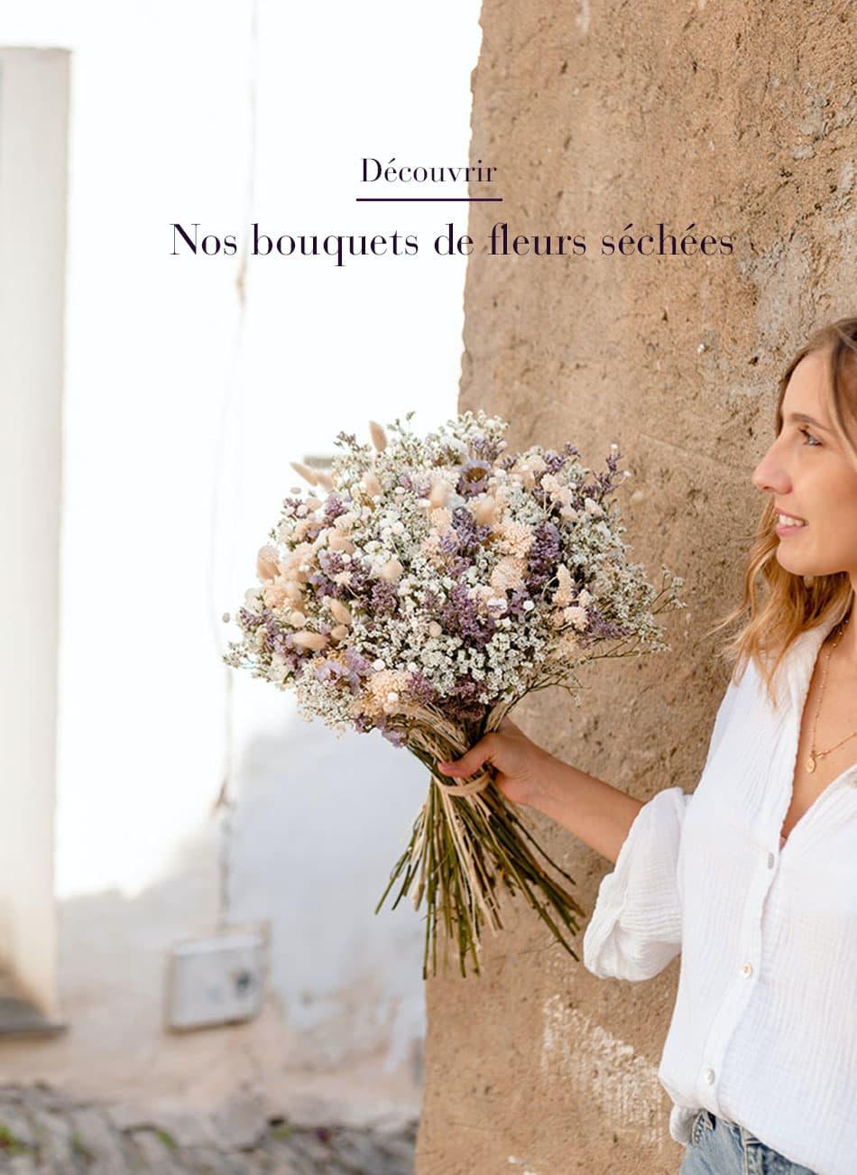 Bouquet de fleurs séchées Rosa Cadaqués blanc et parme