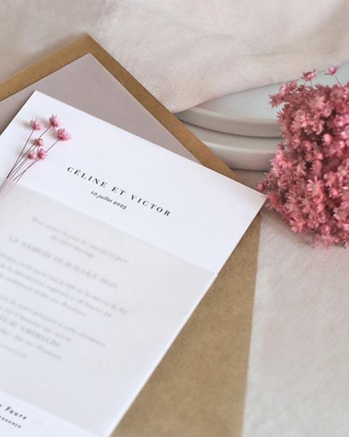 faire-part rosa-cotton mariage fleurs séchées