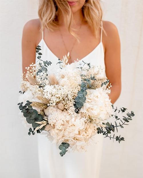 Bouquet mariage en fleurs séchées rosa cadaques
