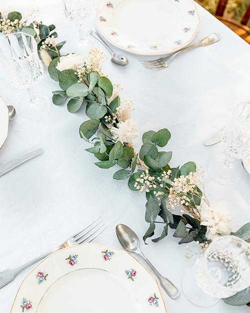 décoration de table fleurs séchées mariage