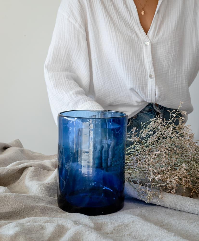 Vase vela azul et fleurs séchées rosa Cadaqués